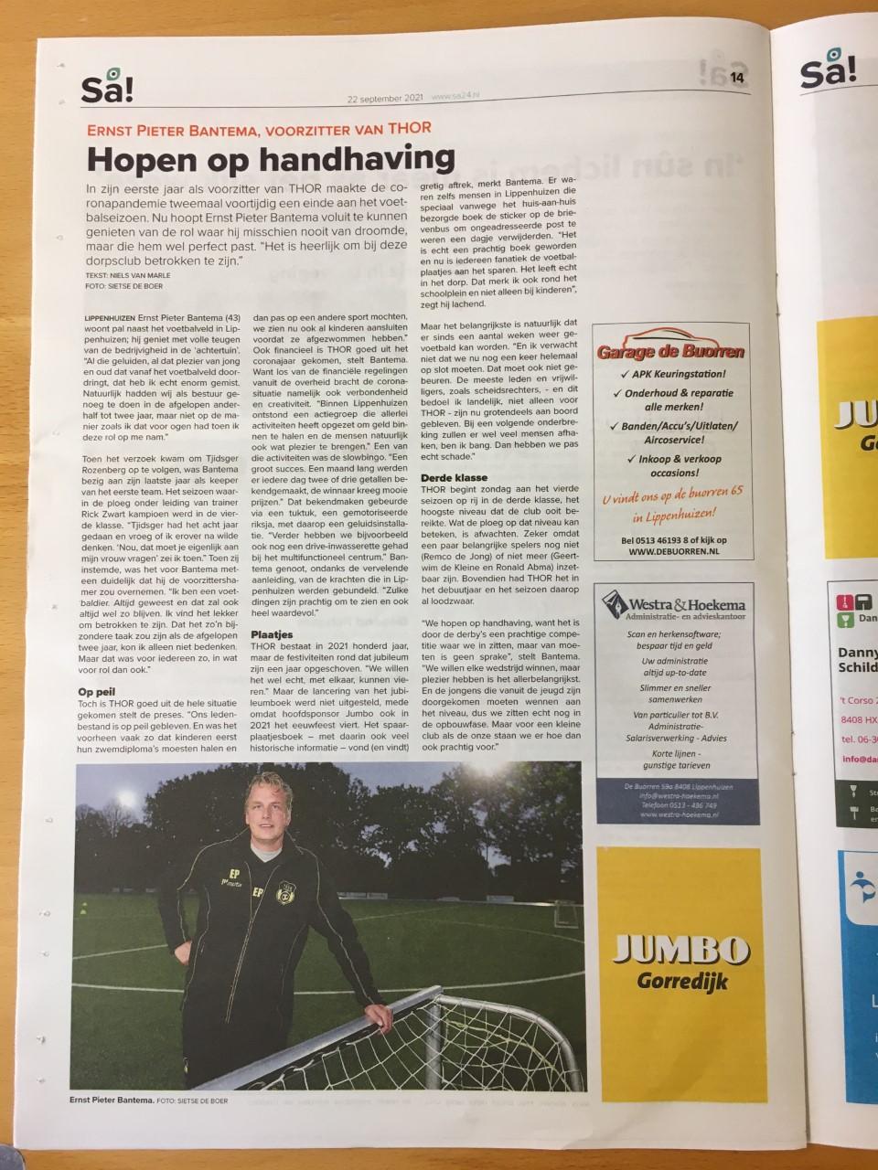 Artikel in de SA van 22 september